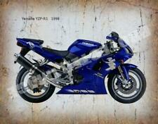 YAMAHA YZF R1 1998 MOTORCYCLE VINTAGE RETRO  METAL TIN SIGN POSTER WALL PLAQUE