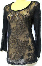 plus sz XXS / 12 TS TAKING SHAPE Rumble Body Tee lacy sexy layering lace top NWT