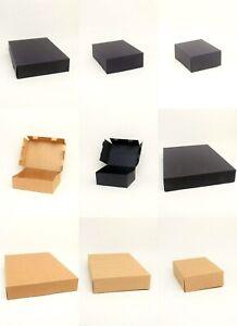 12 x Pack Brown / Black Printed Kraft Paper Fold Flat Gift Boxes