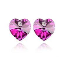 Austrian Crystal Stone Elements Hot Pink Heart Shaped Jewellery Stud Earrings UK