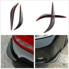 2 Pcs Black Soft Plastic Car Front Bumper Anti-Collision Protection Strips Decal