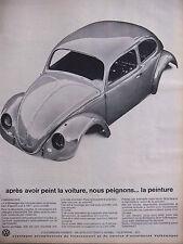 PUBLICITÉ DE PRESSE 1965 VOLKSWAGEN VW TREMPÉ DANS LE PREMIER BAIN - ADVERTISING