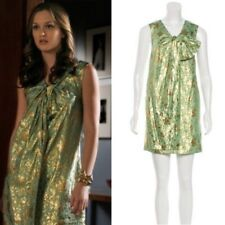 3.1 Phillip Lim Green Gold Brocade Metallic Floral Bow Dress Size 8 Gossip Girl