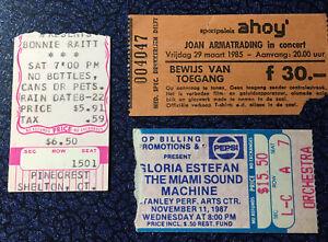 Bonnie Raitt Joan Armatrading Gloria Estefan 3 Concert Ticket Stub Lot 85-87
