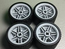 NEW LEGO LBG Wheels 30.4 x 20mm Wheel - 37mm x 22mm Black Tires (x4) 56145/55978
