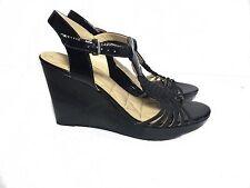 Adrienne Vittandini Black Patent Leather Wedge Heels Braided Strap Cassia 9.5