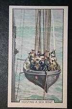 HMS Nelson   Sea Boat    Royal Navy Battleship  Vintage Colour Card  # VGC