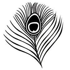 Peacock Eye Feather Unmounted rubber stamp, large #20