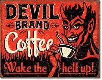 Devil Brand Coffee Vintage Rustic Retro Tin Metal Sign 13 x 16in