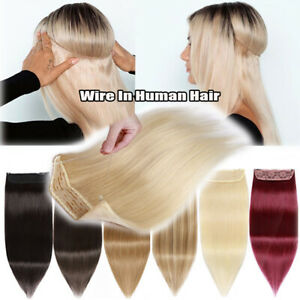 Thick 120G+ Real Remy Wire In Human Hair Extensions Secret Headband Crown Piece