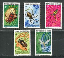 INSECTS, SPIDERS ON CHAD 1972 Scott 252-256, MNH