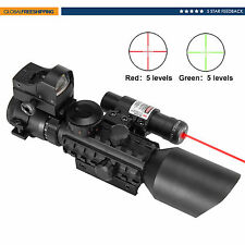 3-10X40EG Mil Dot Riflescope w/Laser Sight and Red Dot Sight Combo Rail Mount