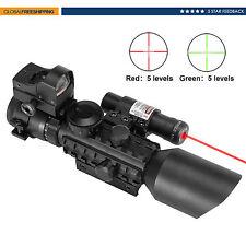 3-10X40EG Mil Dot Riflescope w/Laser Sight and Red Dot Sight Combo Rail Mount