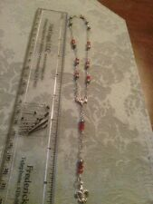 Antique style sterling silver doll rosary with swarovski & pearls