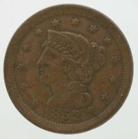 Antique 1852 Braided 1c Large One Cent Early U.S. Penny Coin 17725
