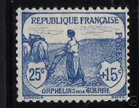 "FRANCE STAMP TIMBRE N°151 "" ORPHELINS GUERRE FEMME LABOUR 25c+15c "" NEUF x TB"