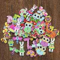 50Pcs Cartoon Animal Wooden Sewing Buttons Scrapbooking DIY Craft Toy Kids Gift