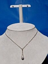 WHITE CLEAR CRYSTAL PAVED TEARDROP PENDANT w/ SOLITAIRE STUD EARRINGS