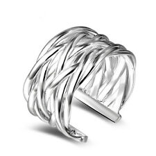 Shiny 925 Sterling Silver Plated Twist Rope Woven Ring /Thumb Ring Adjustable