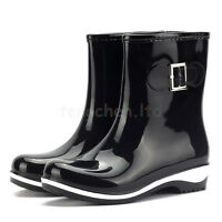 Women's Rain Boots Waterproof Rubber Flats Anti-Skid Ankle Boots Short Shoes NEW