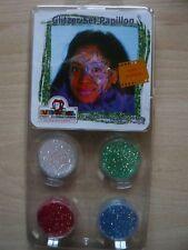 Eulenspiegel Glitzer Set Papillon 4 Farben (Gr.pr € 1,06/g) Schminke Gesicht