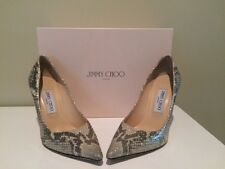 Authentic Jimmy Choo Abel Gold Shim Snakeskin Pointed Pumps Heels 37.5 /7.5 $595