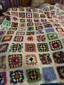 Vintage Granny Square Crocheted Bedspread