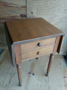 Antique Sheraton Cherry Drop Leaf Table 2 Drawer Night End Stand