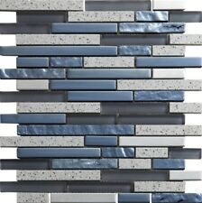 Grey glass and grey quartz with chrome staggered mosaics in sheets