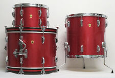 EXCELLENT MATCHED 1965 Vintage LUDWIG DRUMS: 20 BASS, 13,16 FLOOR w/ BRASS HOOPS
