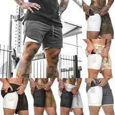 Men's Summer Shorts 2 In 1 Quick Drying Pocket Shorts Gym Sports Breathable NEW