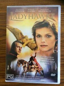 """Ladyhawke , DVD.  """"Rare"""".  Michelle Pfieffer.  Region 4. (VGC)     Free Postage."""