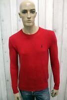 RALPH LAUREN Taglia S Maglione Uomo Cotone Rosso Sweater Pullover Maglietta Man
