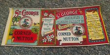 ST. GEORGE CORNED MUTTON tin can label 1890s Dunedin New Zealand St. George OLD