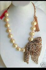 BETSEY JOHNSON PINKTINA LARGE PEARL LEOPARD BOW TIE AND TASSEL NECKLACE  NEW