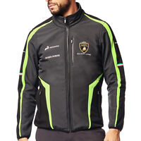 Lamborghini Squadra Corse Mens Softshell Jacket Black Official Team Merchandise