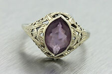 Ladies Antique Art Deco Filigree 14K White Gold Oval Amethyst Cocktail Ring
