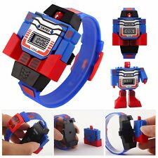 Children Cartoon Transformer Robot Digital Wrist Watch Puzzle Toy Kid Gift Sport
