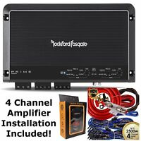 Rockford Fosgate R300X4 Prime 4-Channel Amplifier + 4 Channel Amp Kit