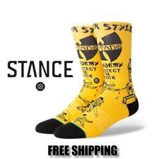 STANCE Men Anthem Wu-Tang Clan Protect Ya Neck Socks Large (9-12) Yellow Black