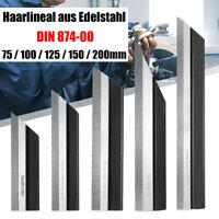 Präzisions Haarlineal Edelstahl INOX DIN 874/00 Rostfrei 75 100 125 150