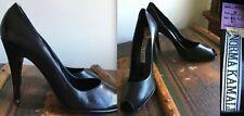 "Vtg New Norma Kamali Pumps Peep Toe Leather Black 4"" Super High Heels Shoes 10"