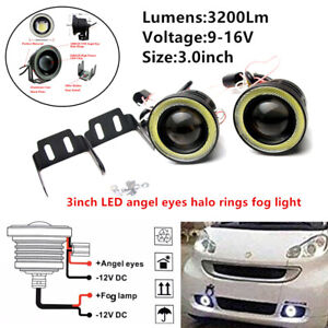 2x3in 3200Lm LED Projector Fog Light Round Amber Angel Eye Halo Truck 12V Power