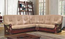 Classic Corner Sofa Leather Couch Wood Set 100% Full Leather Immediate
