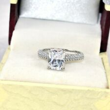3.44 Ct Emerald Cut Diamond Engagement Silver Rings White Gold Finish Size 6 7 8