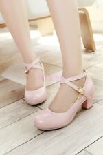 Womens Casual Cross Strappy Chunky Heel Round toe Mary Janes Lolita Buckle Shoes