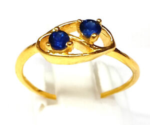 9 Carat Solid Yellow Gold Ring Radiant Sapphire Gems Jewelry Ring Gift for Wife