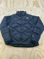 NORTH FACE 550 WOMEN SIZE MEDIUM SILVER LOGO GOOSE DOWN FEATHER INSULATED JACKET