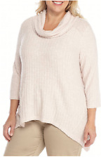 Ruby Rd. 3/4 Sleeve Cowl Neck Light Weight Ribbed Sweater Top 1X Blish MSRP $64.