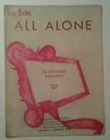 All Alone Sheet Music Irving Berlin 1924 Ukulele Banjo Guitar Vintage